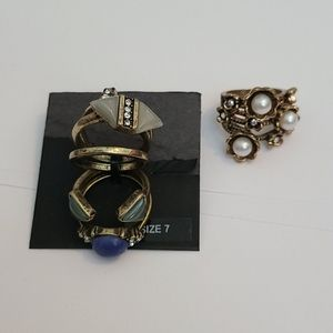 Flower and stone Rings